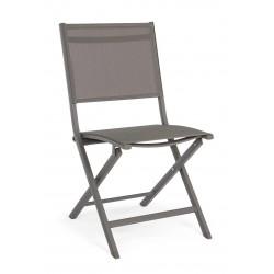 Sedia da esterno pieghevole Elin. Alluminio e textilene. 4 colori By Bizzotto